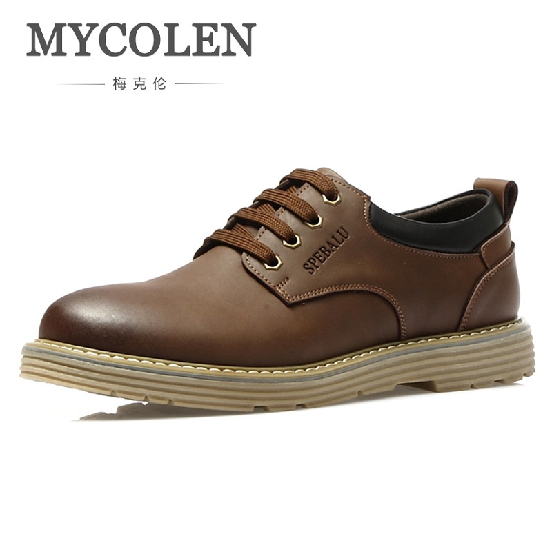 MYCOLEN 2018 Breathable Genuine Leather Mens Shoes Lace-Up Solid Flats Spring Autumn Quality Casual Shoes For Men Shoes top fashion shoes men mens canvas shoe chaussure homme leather business breathable spring autumn solid medium b m flat lace up