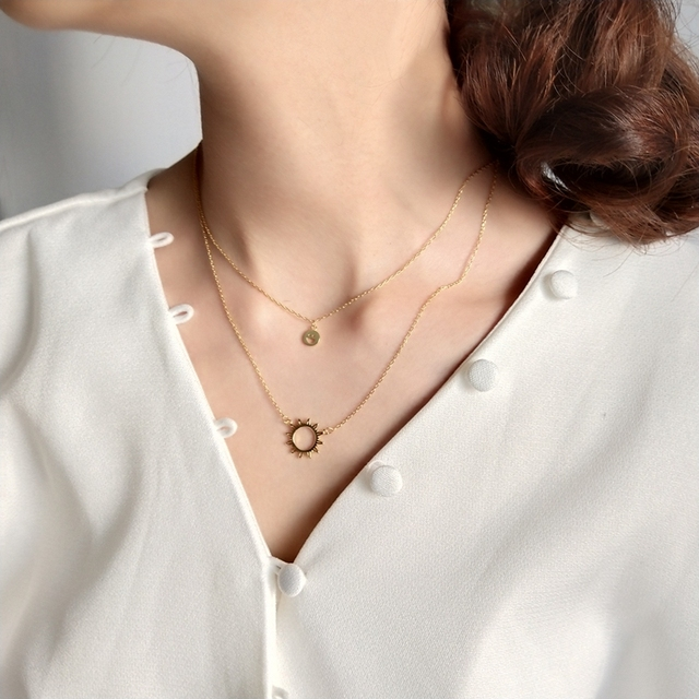 Sterling 925 silver smiley face sun pendant necklace gold 2018 fashion simple double layer necklace for women charms jewelry
