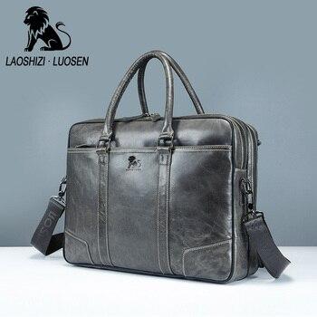 LAOSHIZI LUOSEN men's Genuine Leather Briefcases Men Laptop Handbag male Cow Shoulder Messenger Bags Business computer Briefcase Men's Backpacks