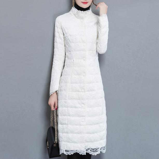2018 winter fashion   Down   Jacket Women Long slim lace elegant Stand Collar Lightweight White duck   down     coat   plus size 3XL!