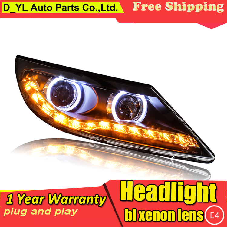 Car Styling Headlights for Sportage 2014 15 LED Headlight for Sportage Head Lamp LED Daytime Running