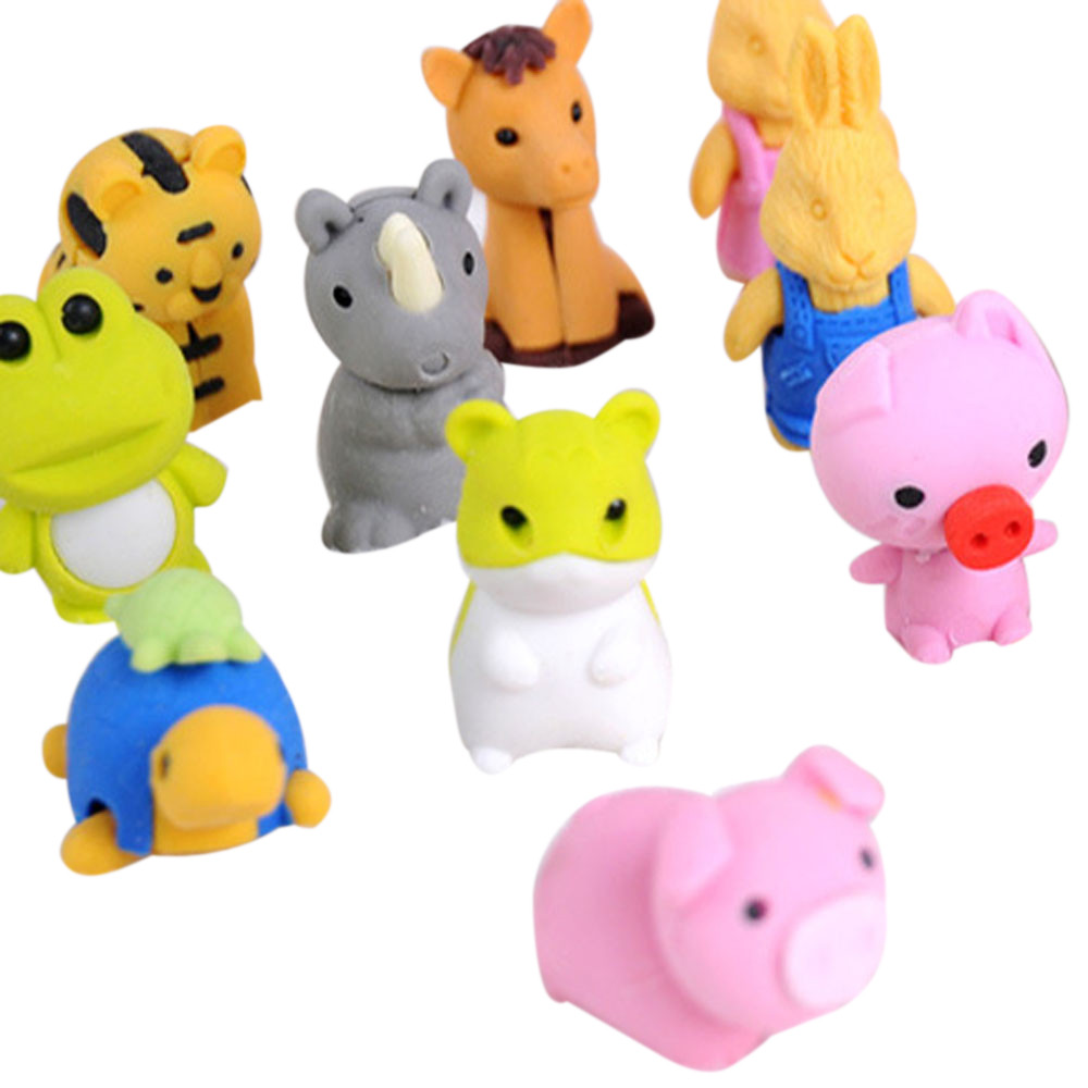 New Cute Animal Rubber Pencil Eraser Set Stationery Novelty Children Party Toy Gift Office Organization Erasers Stationery  A30