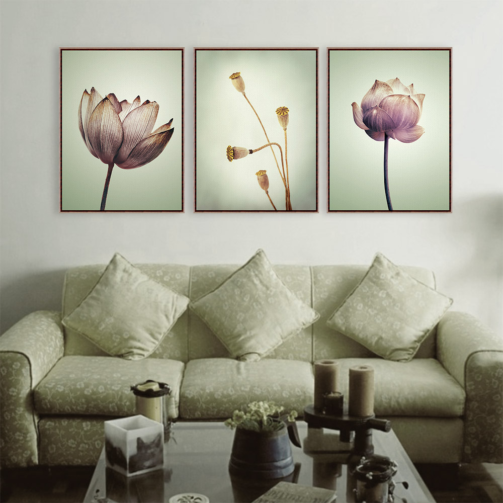 triptych modern minimalist purple lotus rural floral cottage a4 art prints poster nature wall picture canvas