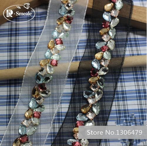 Free Shipping  2cm Fake Pearl Beaded Lace Trim Vintage Mesh Fabric Paillette Lace Beaded Pearl Trim Braid Lace Applique RS177