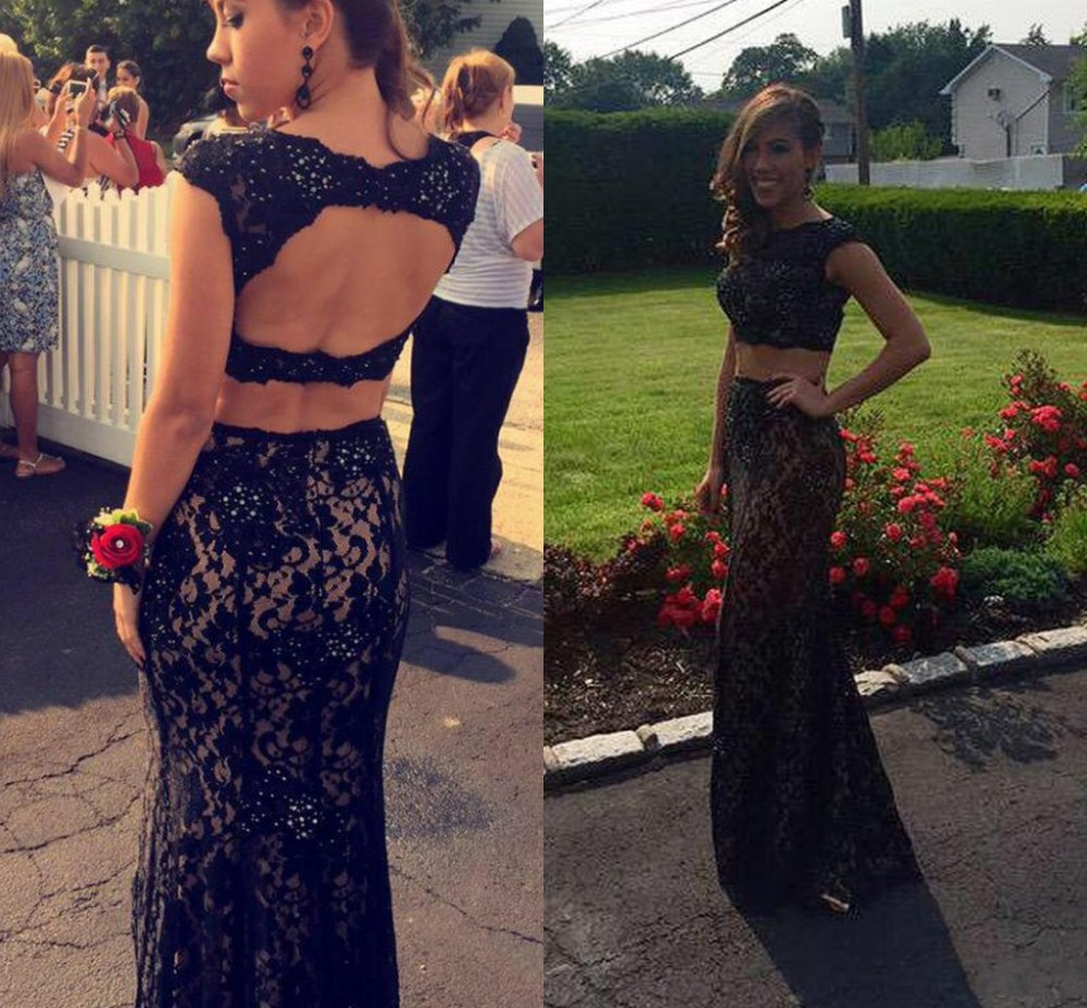 Online Get Cheap Black Two Piece Open Back Laced Prom Dress ...