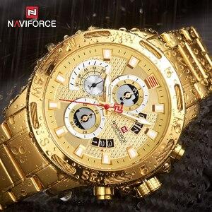 Image 4 - NAVIFORCE mężczyźni zegarki wodoodporna stal nierdzewna kwarcowy zegarek mężczyzna chronografu zegarek wojskowy zegarek na rękę Relogio Masculino