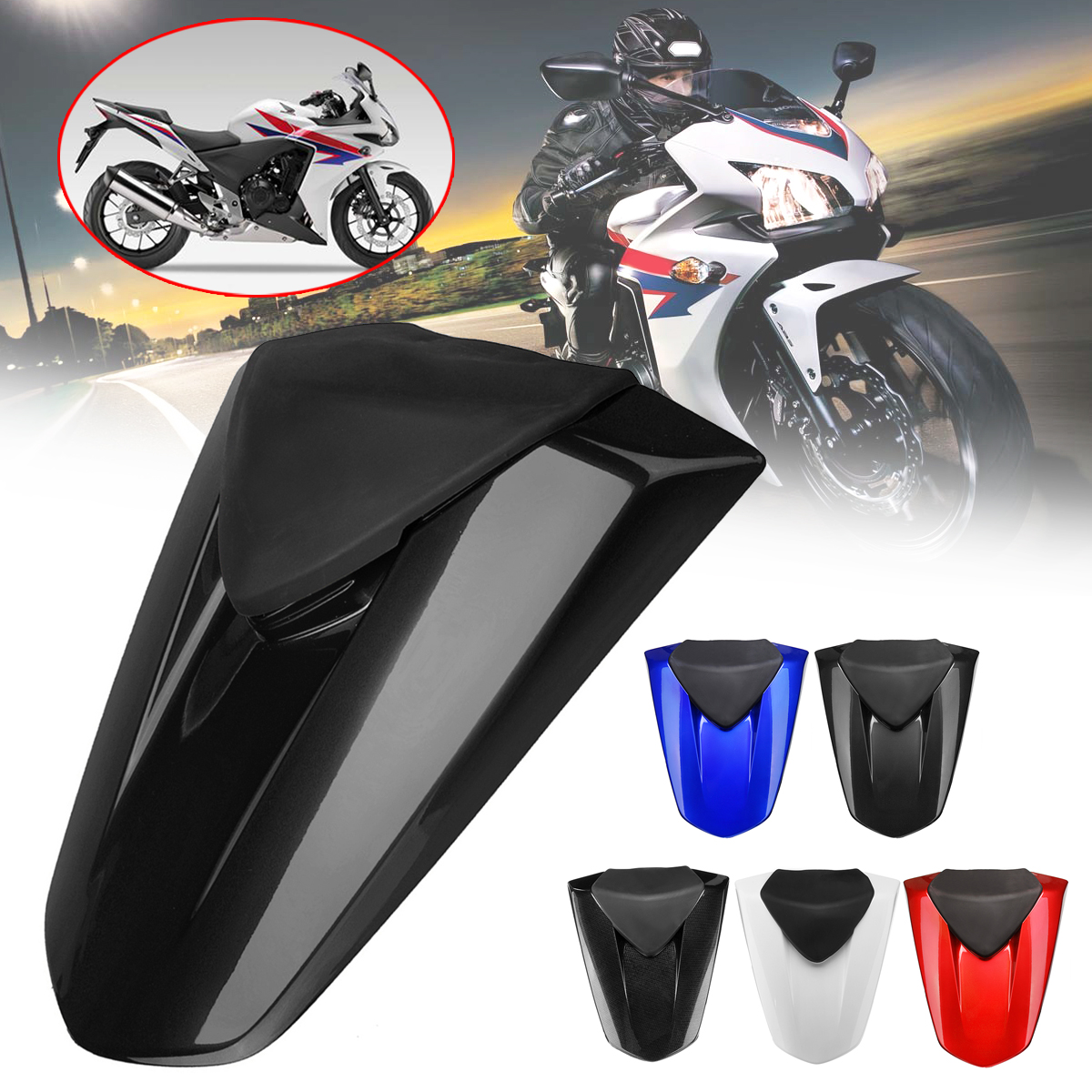 Motorcycle Rear Pillion Seat Cowl Fairing Cover Passenger Seat Pillion Cowl  ABS Plastic for Honda CBR500R CBR 500R 2013-2015