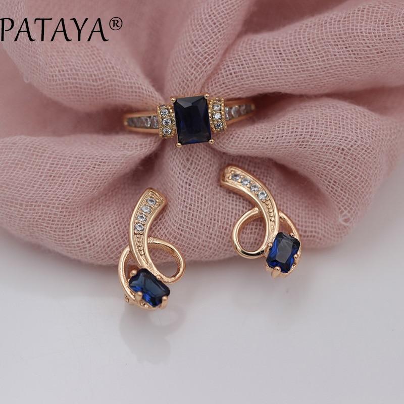 PATAYA Neu Eingetroffen Exklusive Design 585 Rose Gold Lange Ohrringe Ringe Sets Platz Dark Blue Natürliche Zirkon Frauen Ethnische Schmuck
