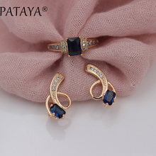PATAYA New Arrivals Exclusive Design 585 Rose Gold Long Earrings Rings Sets Square Dark Blue Natural Zircon Women Ethnic Jewelry(China)