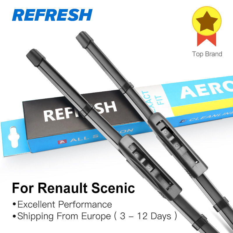 REFRESH Wiper Blades for Renault Scenic Fit Slider / Bayonet Arms Model Year from 2003 to 2018