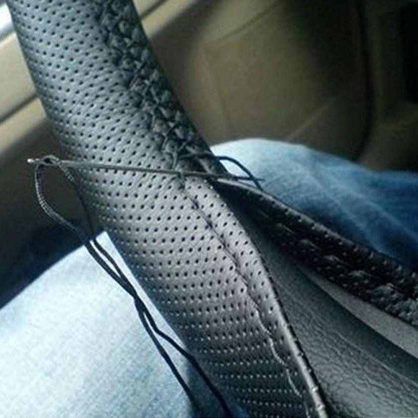 2018 hot sale Car-styling AUTO DIY Leather Soft Steering Wheel Cover Needle Thread Anti-slip 18Mar 15
