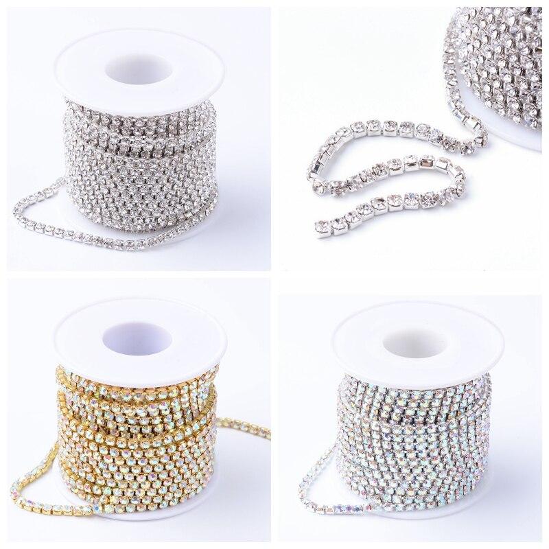 2/2. 6/мм 4 мм 10 ярдов/рулон латунные стразы металлические цепи для ювелирных изделий DIY Изготовление выводов, стразы чашки цепи кристалл AB