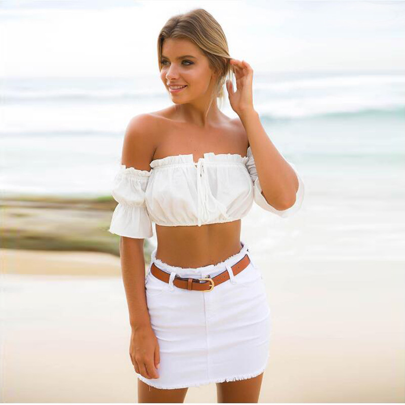 HTB1TJ4MqMMPMeJjy1Xcq6xpppXa3 - FREE SHIPPING 2018 Sexy Strapless Off Shoulder Tee Solid Color JKP400