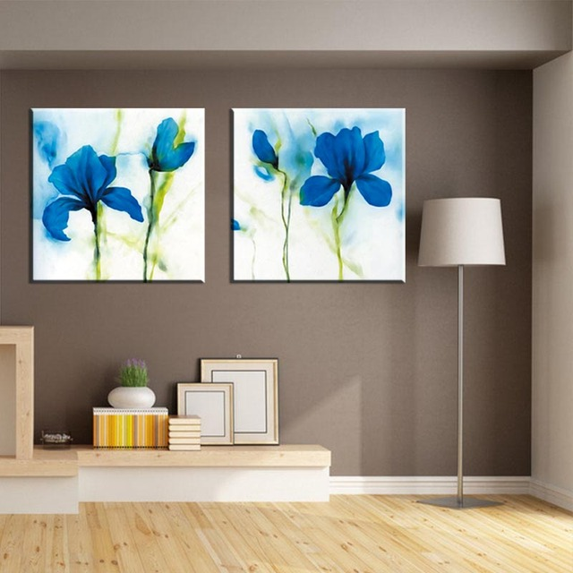 Simple Blue Flower Canvas Art Prints Painting Large Modern Abstract ...
