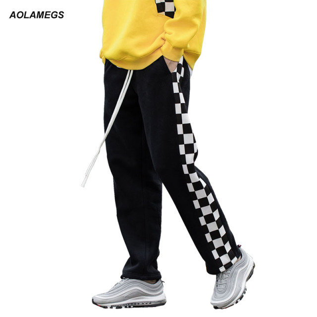 b14461d0c Aolamegs Men's casual pants side stripe black white plaid track pants  street fashion loose sweatpants drawstring