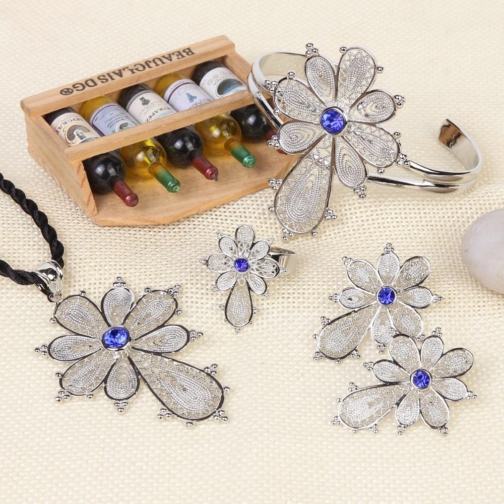 Бангруи Етиопијски сребрни криж сет - Модни накит