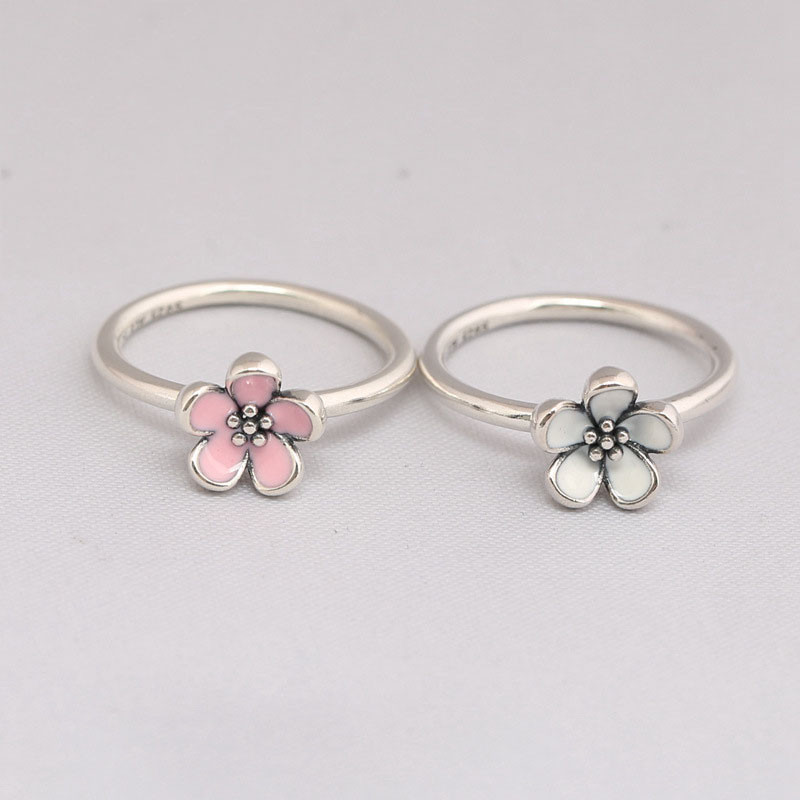 Trendy Original 100 925 Sterling Silver Pink Cherry Blossom Flower Ring For Women Engagement Party Gift Fine Pans Jewelry in Wedding Bands from Jewelry Accessories
