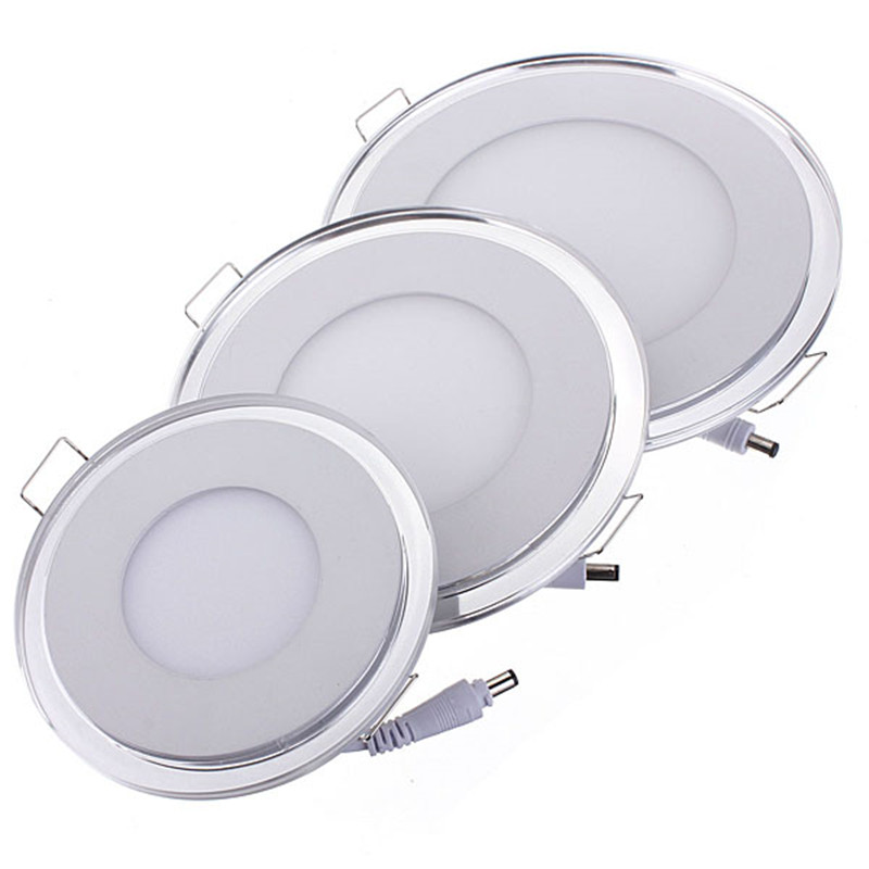 Dual Color Led Panel Downlight 10w 15w 20w Round Led Ceiling Indoor Lighting Recessed Panel Light Warm/cold White Blue Dhl Free In Many Styles