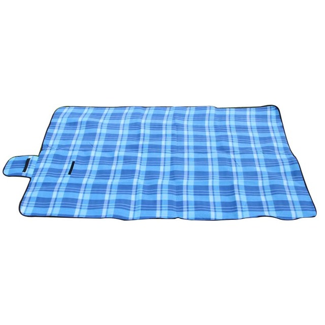 Extra Large Picnic Blanket Rug Mat Waterproof Travel Camping Beach Kids Baby Blue Grid