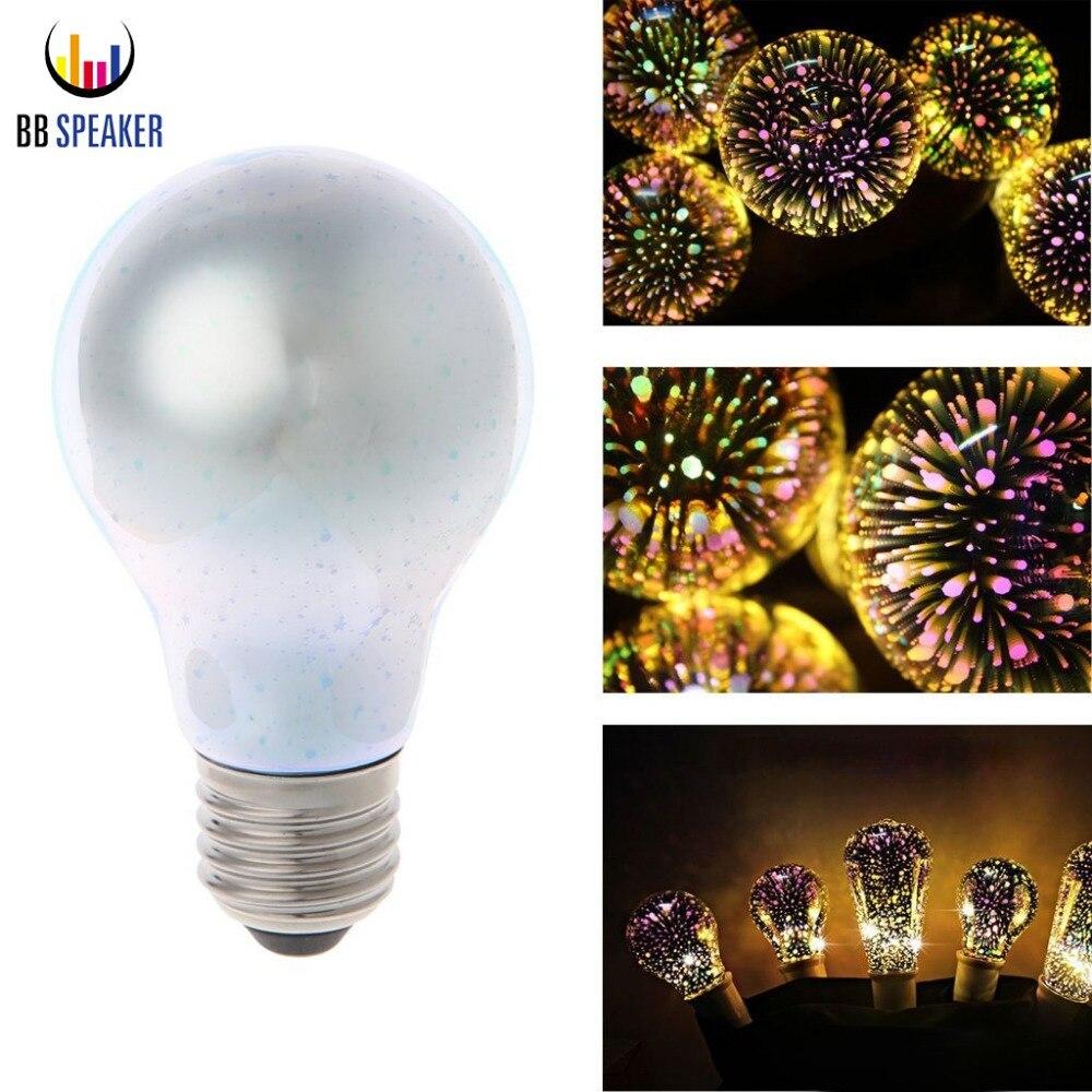 E27 A60 Led 3D Decoration Bulb E27 5W 110V 120V Colourful Led Lamp lampada Vintage Glass for home living Room lighting light