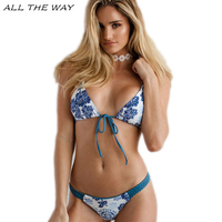 Maillot Floral Bottom Deep V Strappy Swimsuit 2017 Sexy Halter Tanga Thong Bikinis Women Push Up