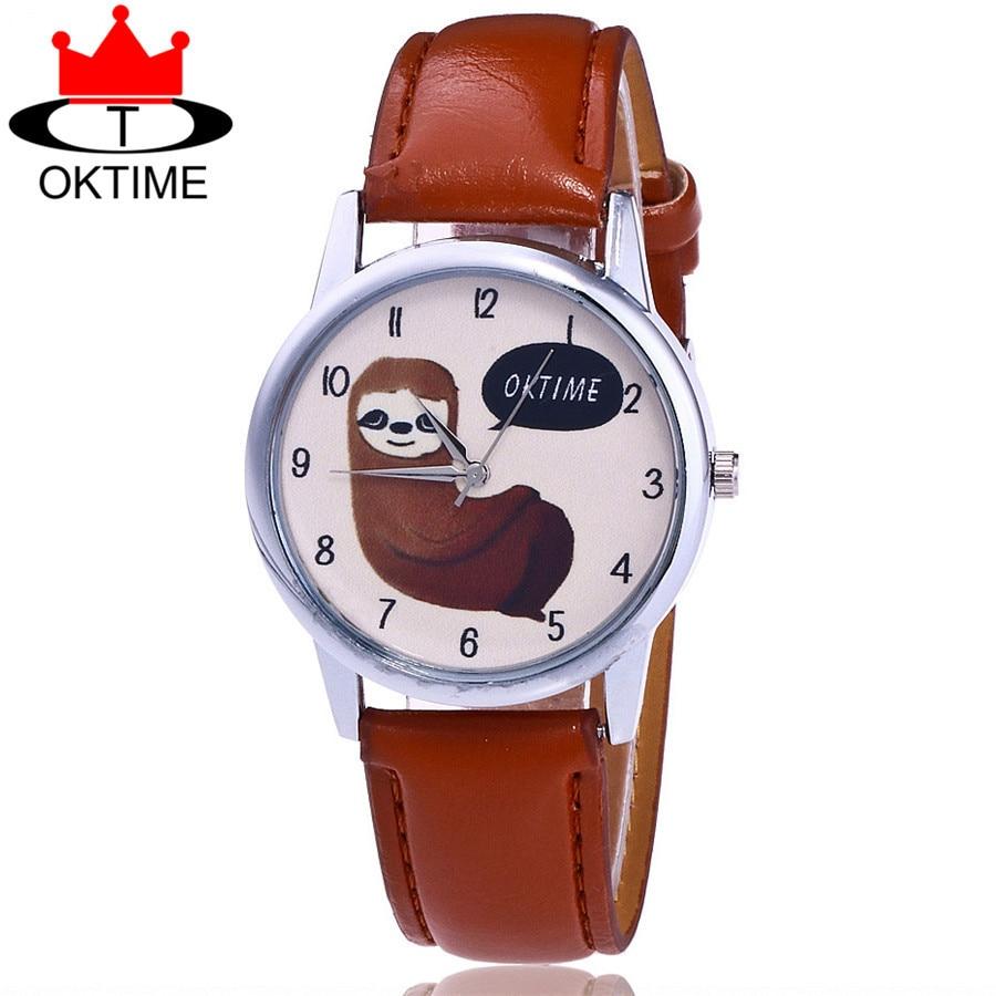 OKTIME Brand Fashion Lovely Sloth Watch Casual Women Wristwatches Leather Quartz Watches Relogio Feminino Drop Shipping KT36