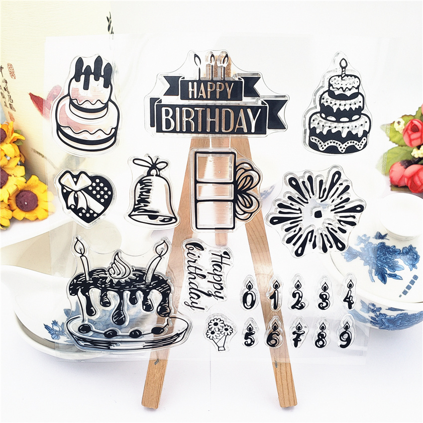 JC Rubber Stamps Scrapbooking Happy Birthday Clear Sheet Silicone Seals Craft Stencil Album Card Making Template Decor