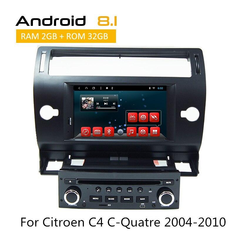 1 Din voiture Lecteur CD DVD Pour Citroen C4 C-quatre 2004 2005 2006 2007 2008 2009 2010 Android auto radio GPS/Glonass Navigation