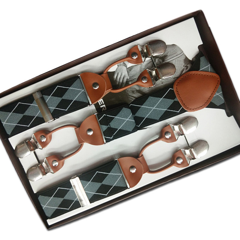6 Clips Pants Suspenders Belt for Men Adjustable Suspenders Y-Shape Jacquard Braces Elastic Suspenders for Trouser Gift box