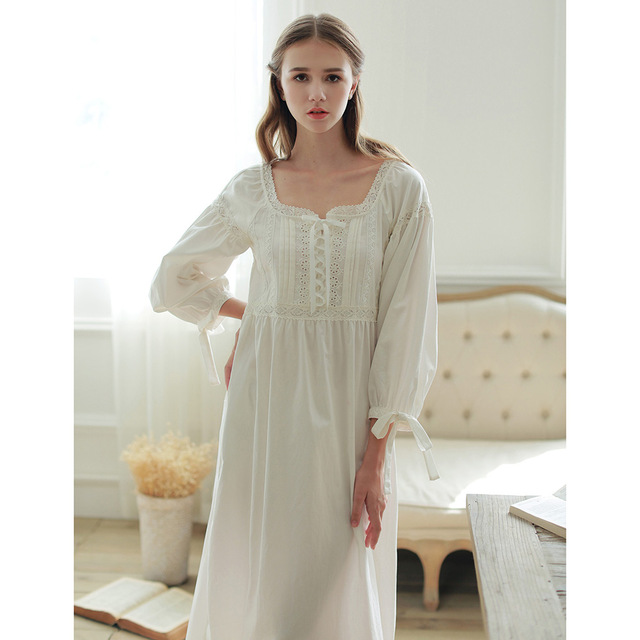 Medieval Retro Long Nightgown Full Sleeve Cotton Sleepwear Square Collar  Ankle-Length Nightdress Lace Solid c176fe80a
