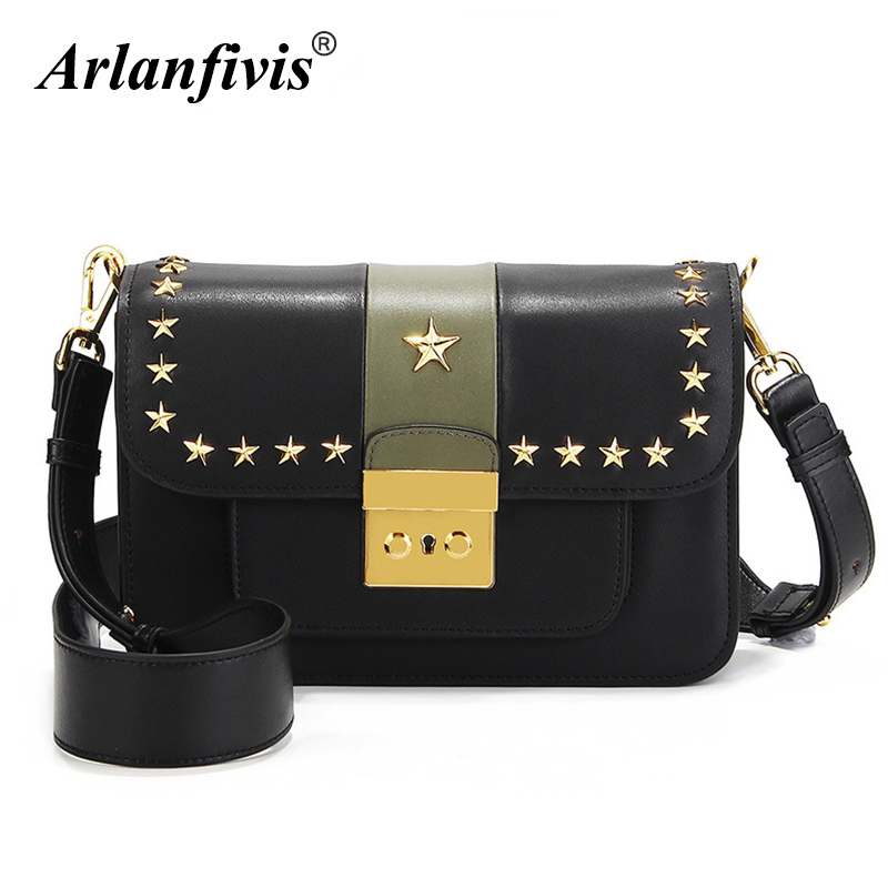 Arlanfivis Genuine Leather Fashion Small Crossbody Bags Women Leather Shoulder Bag Flap Five Pointed Star Bolsa Purse Luxury chic small ball embellished five pointed star pattern knitted beanie for women