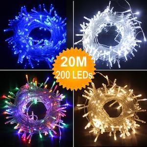 Image 1 - 110 V/220 V Outdoor Home 20M 200 LEDS Fee String Lichter Weihnachten Party Hochzeit Urlaub Dekoration 8 modi Girlande Lichter