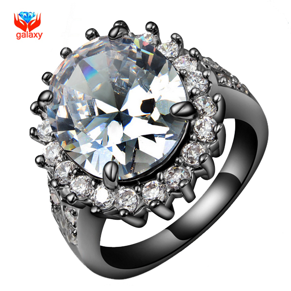 YHAMNI Brand Unique Black Gold Filled Wedding Rings For Women Fashion Egg Cubic Zirconia Engagement Ring