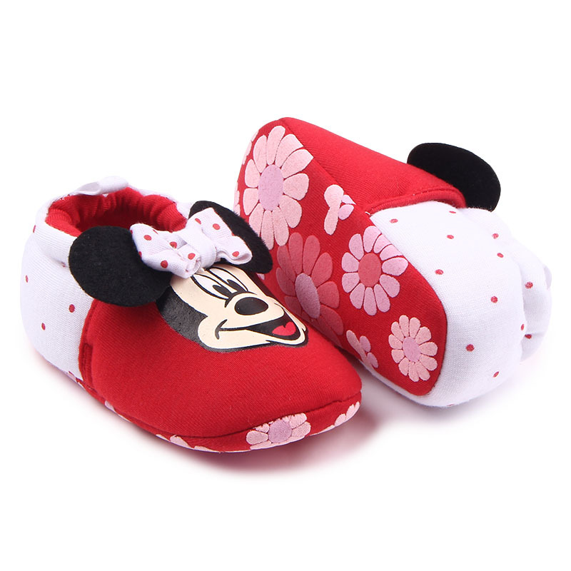 Fashion Cotton Cloth First Walker Cartoon Mickey Mouse Boys Girls Shoes Bebe Toddler Moccasins Non-slip Soft Bottom Shoes