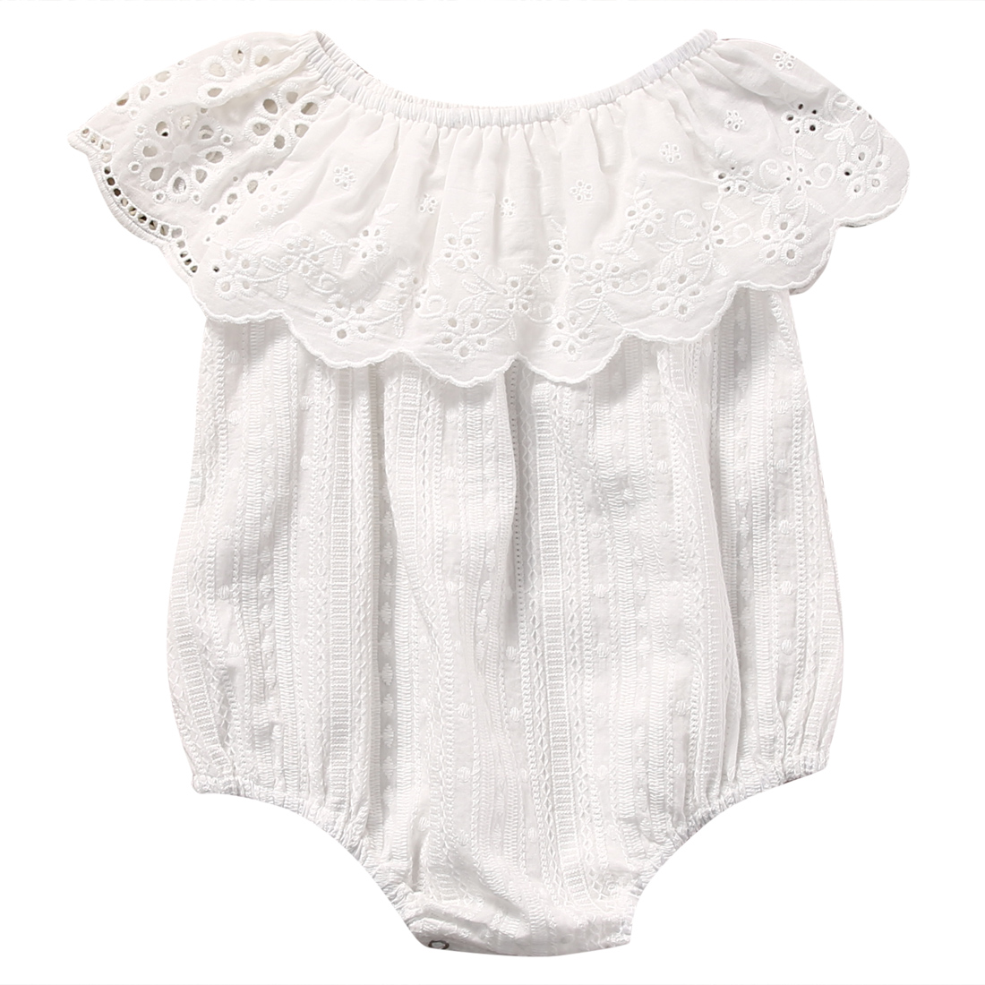2017 Summer Newborn Baby Girl White Lace Romper Jumpsuit Floral Infant Clothes Outfit Sunsuit 2017 floral baby romper newborn baby girl clothes ruffles sleeve bodysuit headband 2pcs outfit bebek giyim sunsuit 0 24m