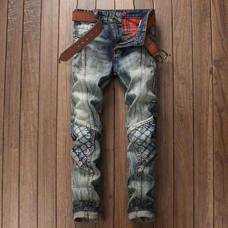 ФОТО Men's Retro Plaid Patchwork Biker Jeans Brand Designer Distressed Vintage Washed Denim Pants With Patch Pleated Jeans For Men