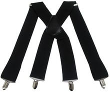 Mens Solid Men 2 Inch 50mm Wide Adjustable Four Clip-on X- Back Elastic Male Adult Heavy Duty Braces Suspenders
