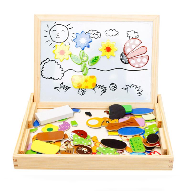 Animals Magnetic Double Sided Puzzle Drawing Board Wooden Cartoon Toy Multifunctional Magnetic Kids Puzzle Drawing Board Educa