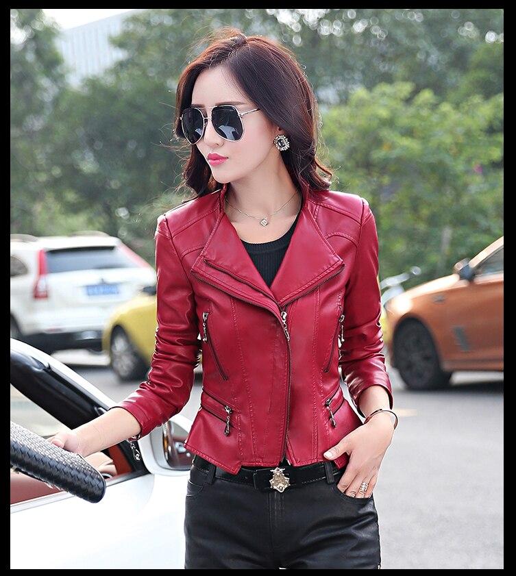 Cheap wholesale 2017 new Autumn Winter Hot sale women's fashion casual plus big size artificial   leather   cool ladies jacket