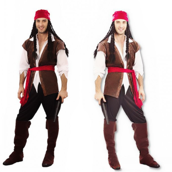 Adult pirate costume for men halloween Cosplay party dress up costume 6pcs in a set , shirt + vest + trouses + boot + headband