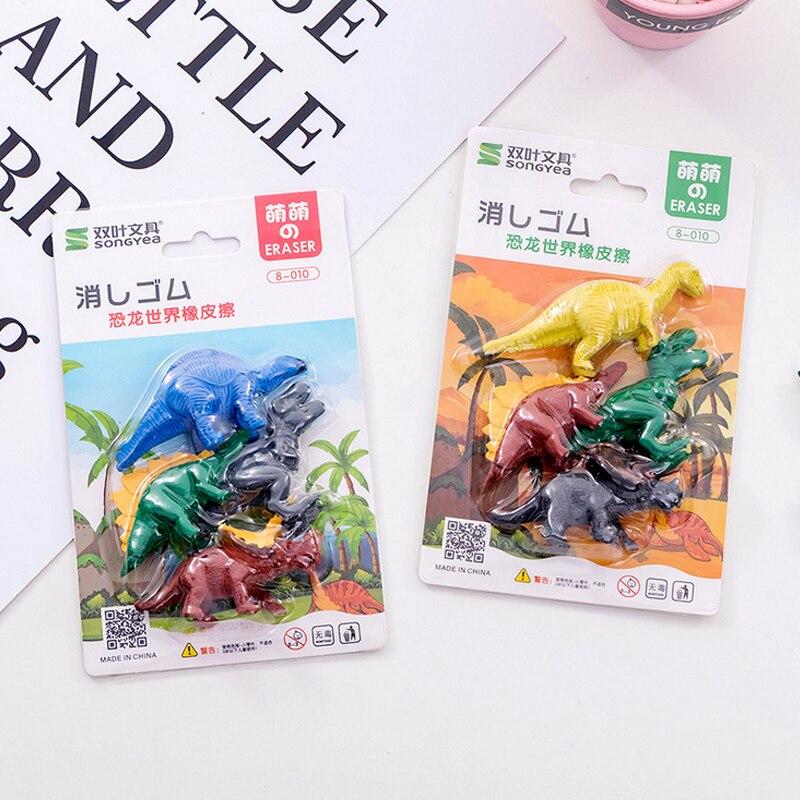 4 Pcs/set Creative Dinosaur World Eraser Cartoon Animal Rubber Eraser Kawaii Stationery School Supplies Papelaria Kids Gifts