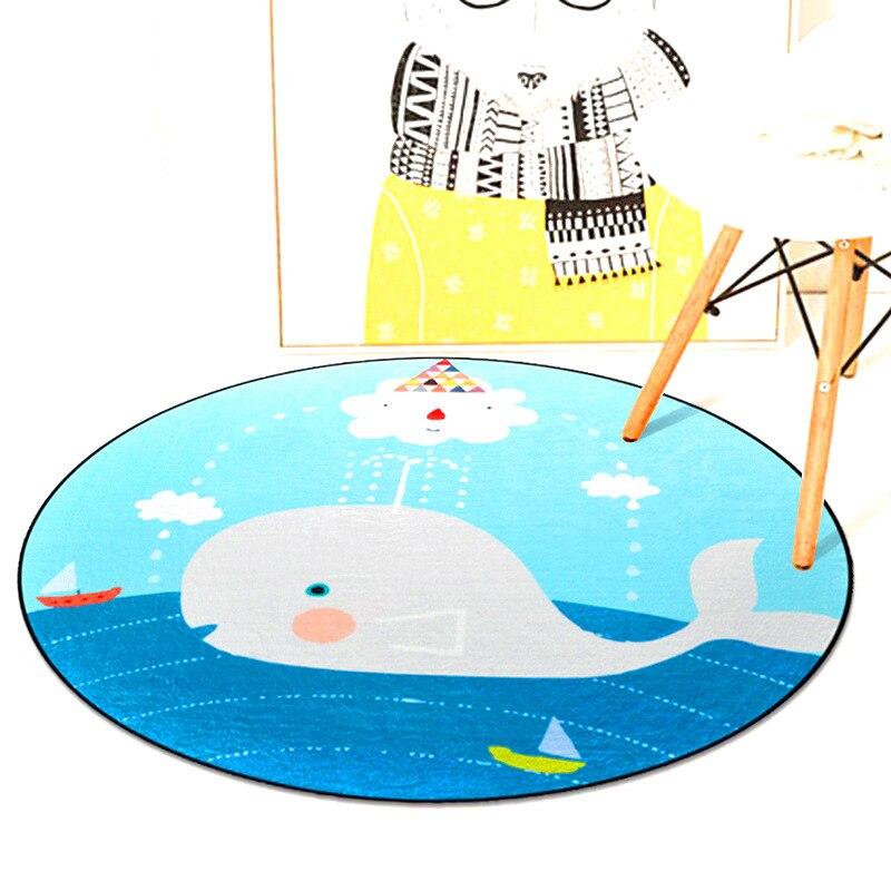 Cute Cartoon Whale Circle Soft Carpet Bedroom Living Room Home Decorative Round Kids Rugs Thicken Non-Slip Design Floor Mats