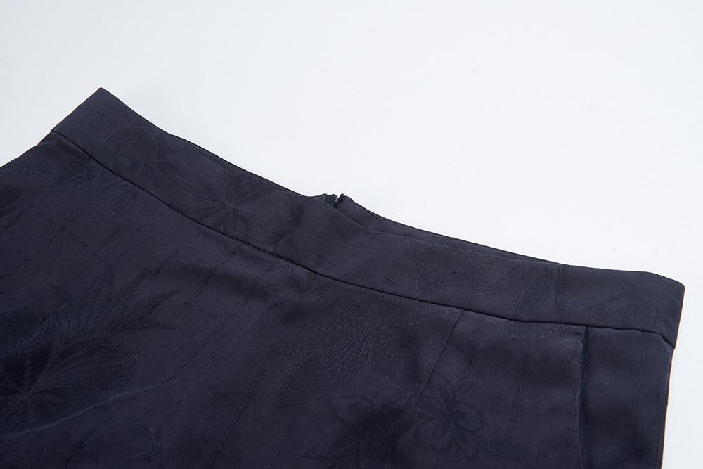 Шелковые брюки женские короткие брюки Летние удобные короткие feminino натуральная шелковая ткань темно-синего цвета