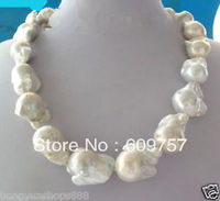 Use Extremely Natural Pearl NECKLACES REAL HUGE AAA SOUTH SEA WHITE BAROQUE PEARL NECKLACE good women gift silver jewelry