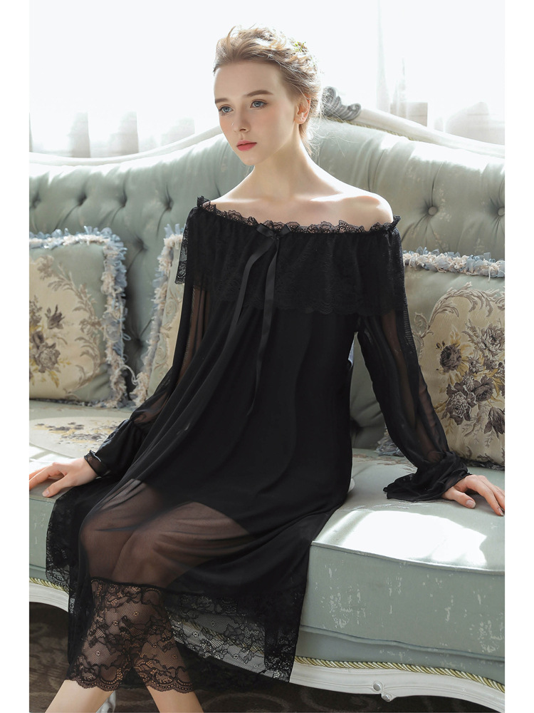 Black Modal Mesh Slash Neck   Nightgowns     Sleepshirts   Women Long Nightdress Translucent Sleepwear Court Home Clothes Trumpet Sleeve