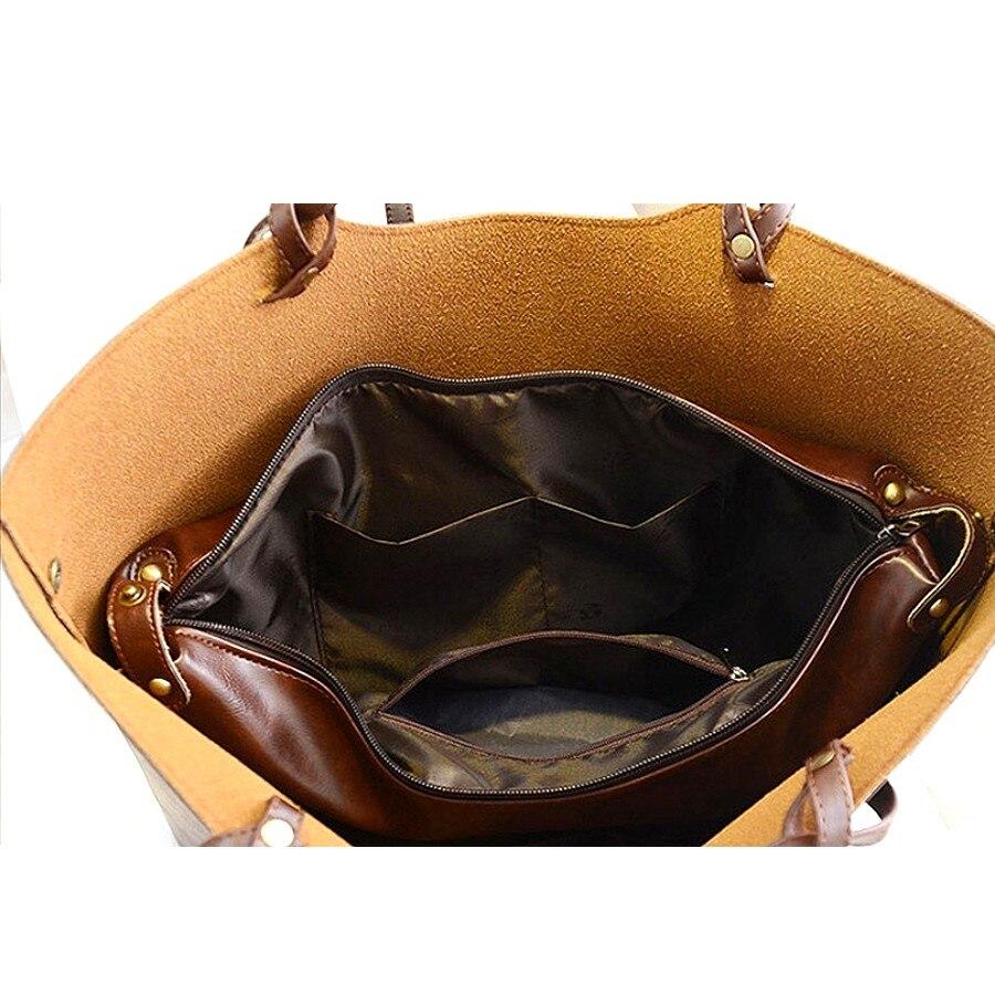 KLY 100% Genuine leather Women handbags 2017 New design women handbags vintage women shoulder bags large tote brown women bags