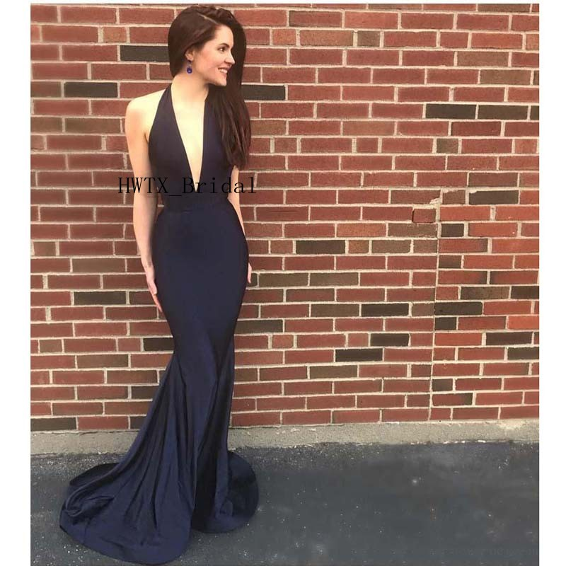 Sexy Black Mermaid   Evening     Dresses   Halter Sexy Deep V Neck Backless Long Abendkleider 2019 Arabic Formal Party Prom Gowns Cheap