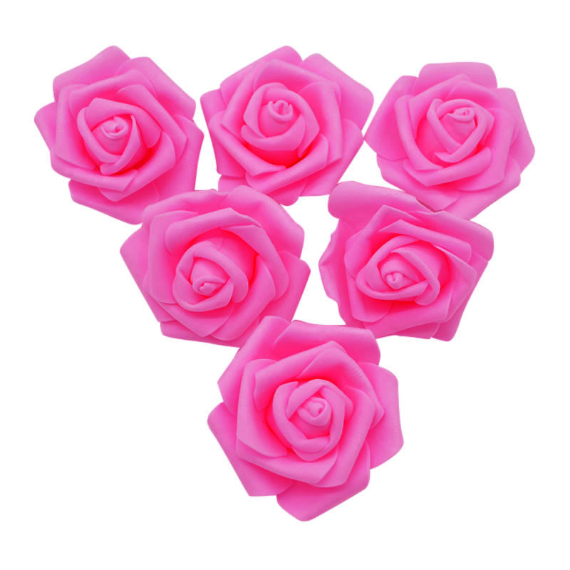 10Pc 6CM Artificial PE Foam Rose Flower Heads DIY Bride Wedding Bouquet Decor Rose Flower Wreath Craft Gift Box Package Supplies