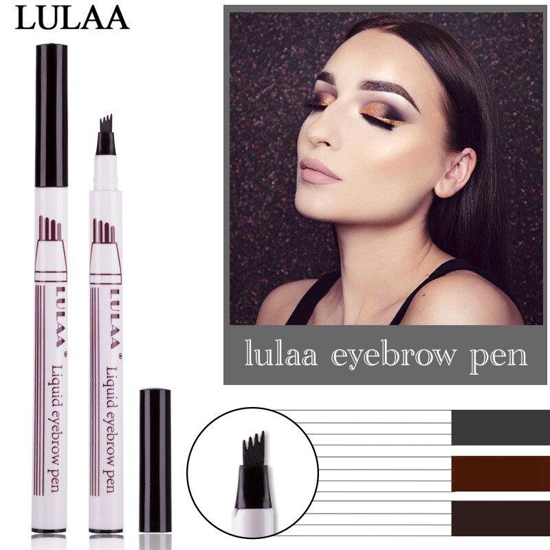 Microblading Tattoo Eyebrow Pencil Waterproof Fork Tip Eyebrow Pen 4 Head Fine Sketch Liquid Eyebrow Enhancer Dye Tint Pen