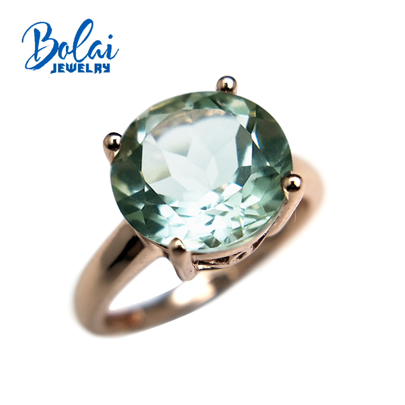 Bolaijewelry,round10.0mm green amethyst gemstone special divise aulic Ring 925 rose color sterling silver jewelry for women